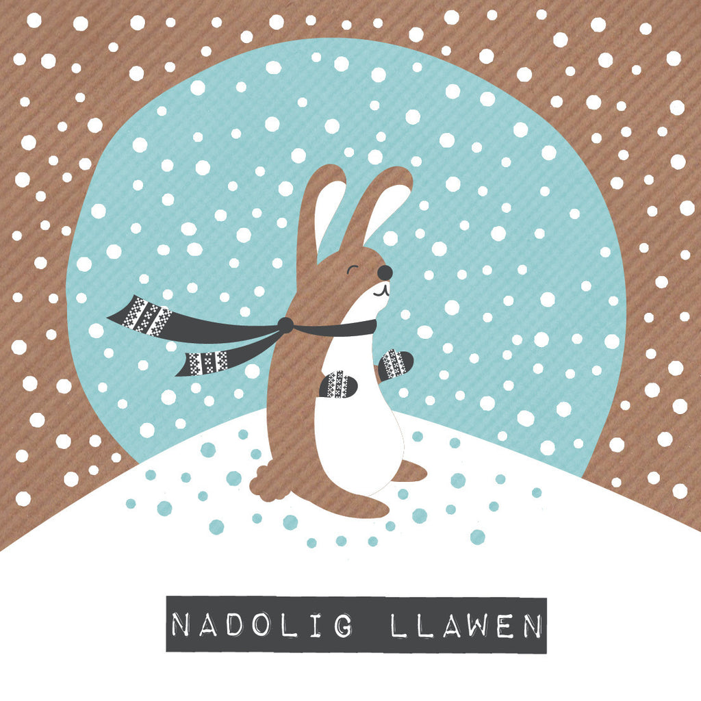 Welsh Rabbit Merry Christmas Card / Nadolig Llawen