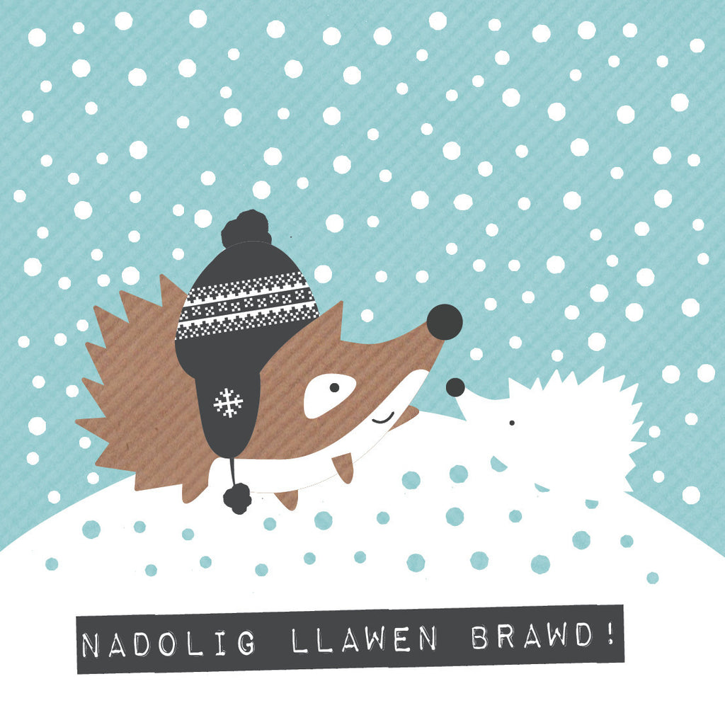 Welsh Hedgehog Merry Christmas Brother Card / Nadolig Llawen Brawd!