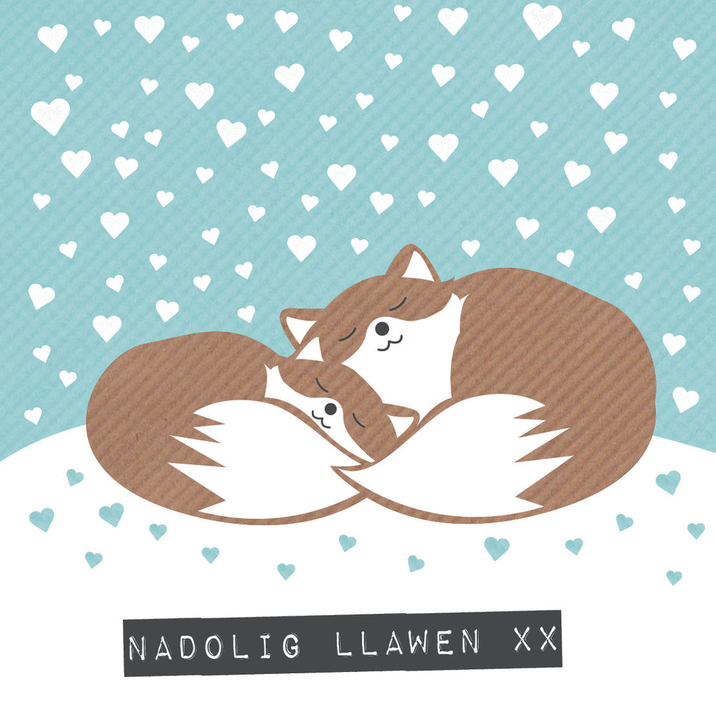 Welsh Foxes Merry Christmas Card / Nadolig Llawen xx
