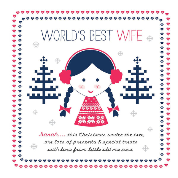 Personalised Festive Freckles World's Best Wife/ Fiancee/ Girlfriend Card