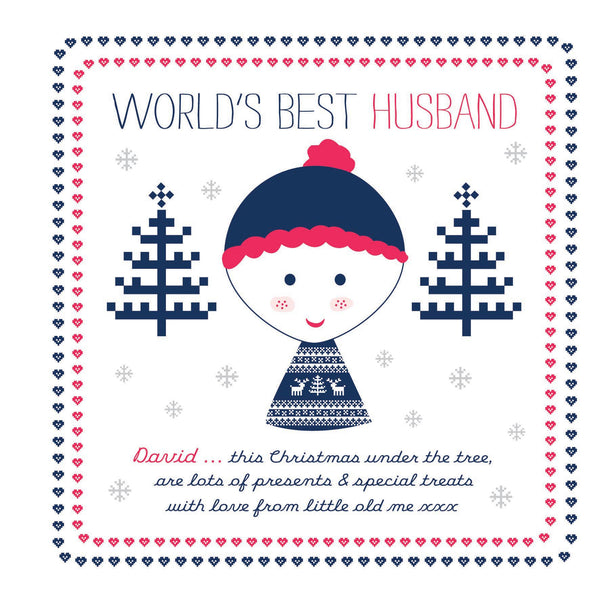 Personalised Festive Freckles World's Best Husband/ Fiance/Boyfriend Card