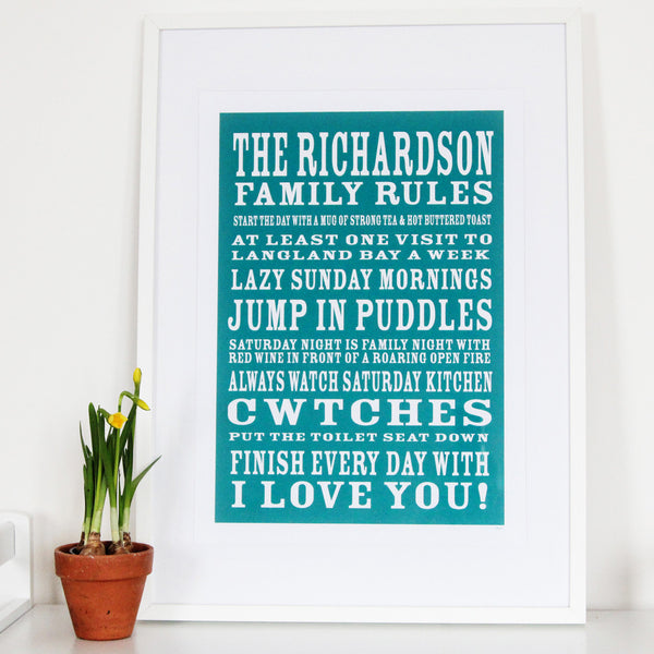 Personalise Family Rules Print