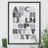 Graphic Grey Alphabet Print