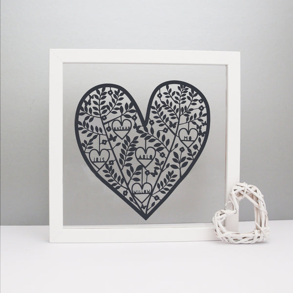 Personalised Family Heart Paper Cut