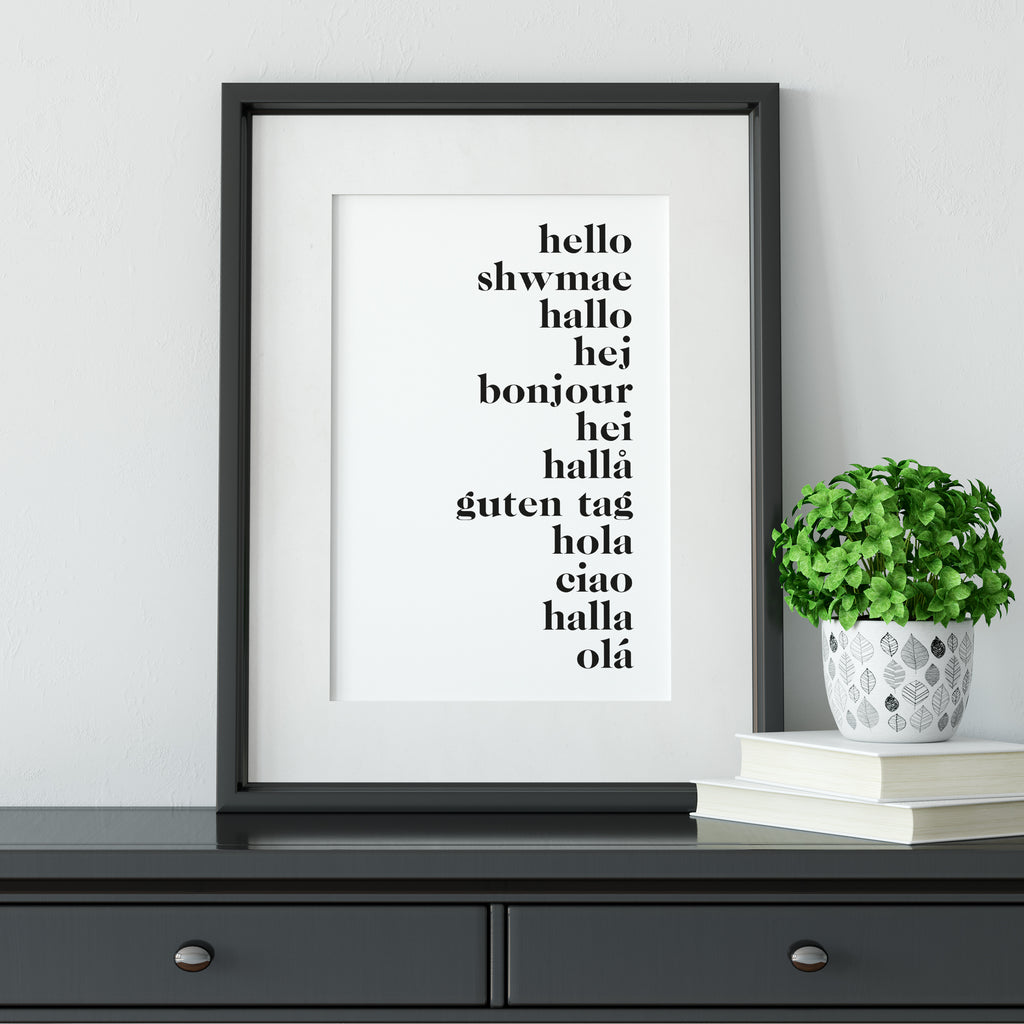 Say Hello Text Print