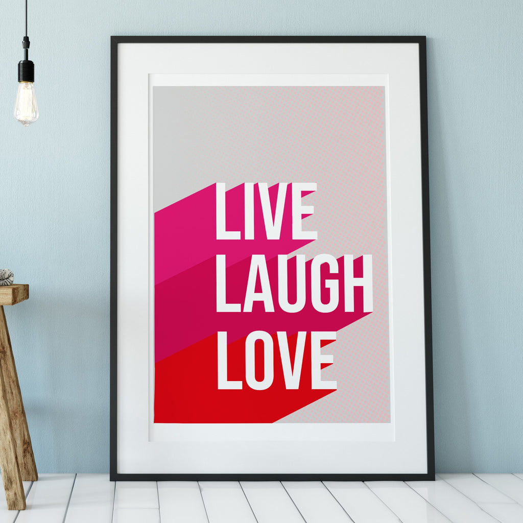 Live Laugh Love Halftone Block Print