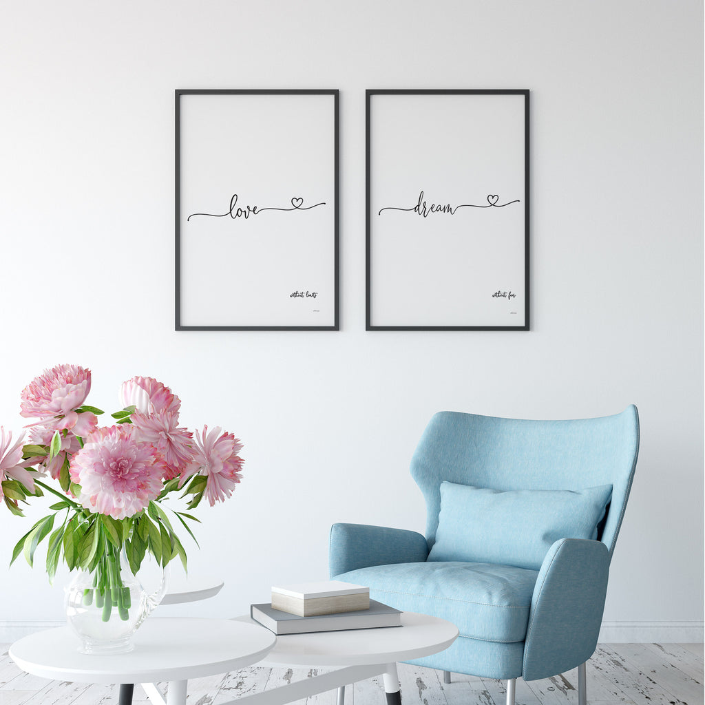 Love Without Limits Dream Without Fear Pair of Art Prints