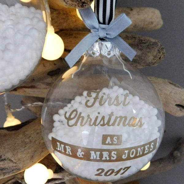Personalised Couple 1st Christmas Bauble Decoration