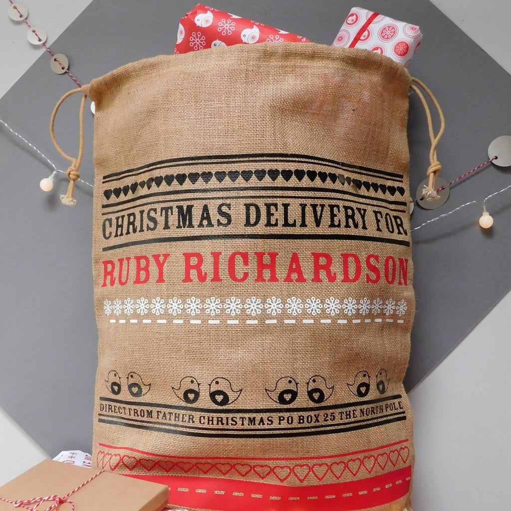 Personalised Festive Hessian Christmas Sack