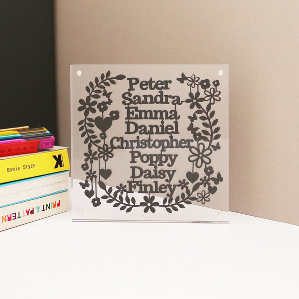 Personalised Family Name Paper Cut Block