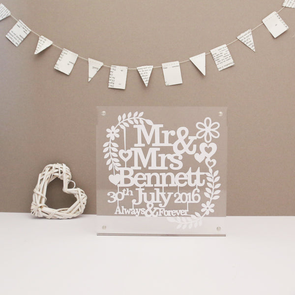 Personalised Wedding Paper Cut