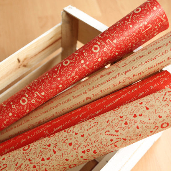 Christmas Threads Kraft Gift Wrap Set