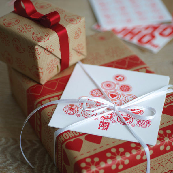 Robins and Ribbon Christmas Kraft Gift Wrap Set