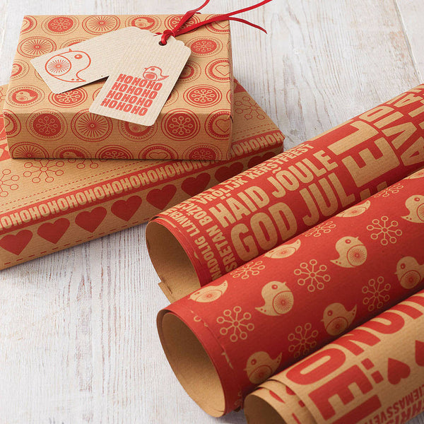 Merry Berry Christmas Kraft Gift Wrap Set