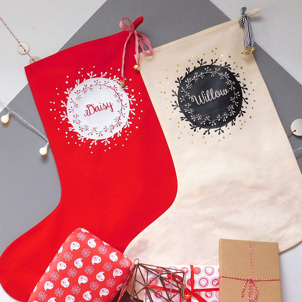 Personalised Wreath Christmas Stocking