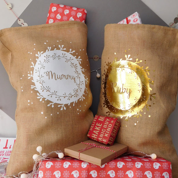 Personalised Wreath Christmas Sack