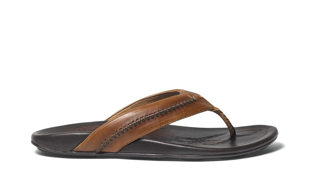 Olukai Mea Ola Mens Leather - Tan/Dark Java
