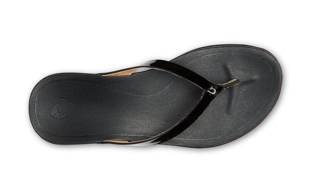 Olukai Ho'opio Leather Womens - Black Patent