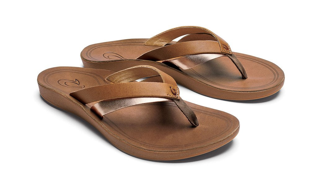 Olukai Kaekae Leather Womens - Sahara/Bubbly