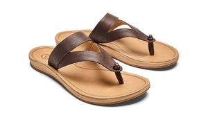 Olukai Kaekae Ko'o Leather Womens - Kona/Sand