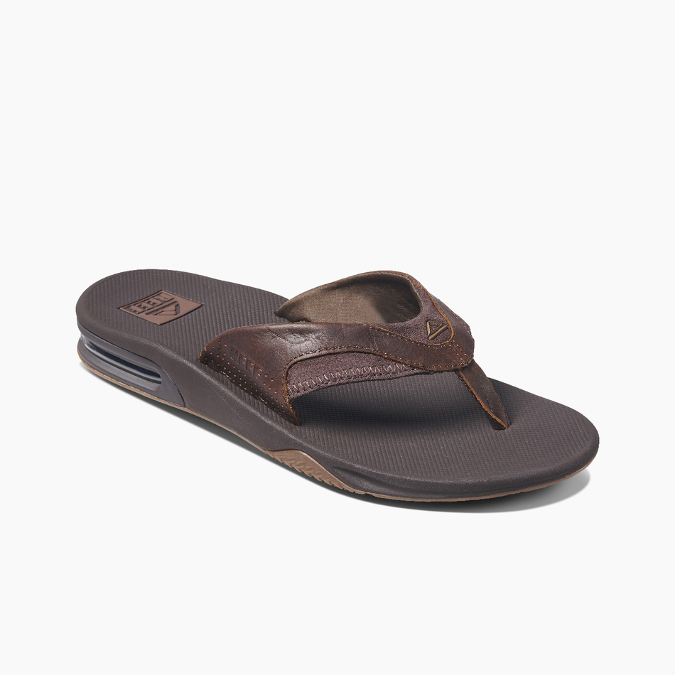 Reef Mens Leather Fanning - Dark Brown