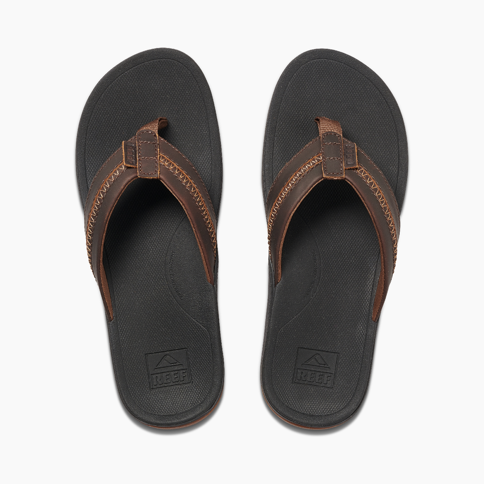 Reef Mens Leather Ortho Bounce Coast - Black/Brown