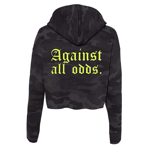 """AGAINST ALL ODDS"" WOMEN'S CROPPED HOODED SWEATSHIRT (BLACK CAMO)"