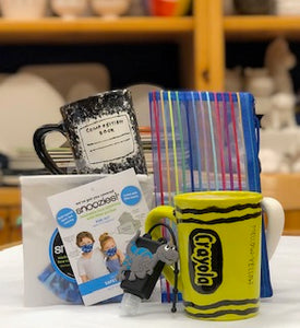 "Boys kits includes Shark mask, pencil case and ""fill yourself"" travel sized Dino hand Sanitizer container (Rustic mug)"