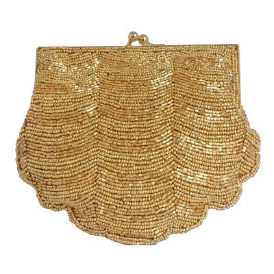 Full Beaded, Mini Clutch, Shell Shape, Evening Bag