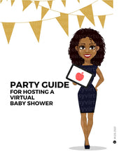 Load image into Gallery viewer, Virtual baby shower games. Online baby shower games. Virtual baby shower invite. Virtual baby shower invitations  Webbabyshower. How to do a virtual baby shower. A picture of Black woman or African American woman hosting a virtual baby shower. To host the virtual baby shower, she has virtual baby shower invitations, virtual baby shower games, online baby shower games that can be played on zoom or google meet.
