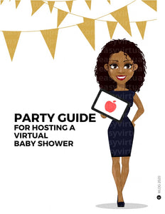 Virtual baby shower games. Online baby shower games. Virtual baby shower invite. Virtual baby shower invitations  Webbabyshower. How to do a virtual baby shower. A picture of Black woman or African American woman hosting a virtual baby shower. To host the virtual baby shower, she has virtual baby shower invitations, virtual baby shower games, online baby shower games that can be played on zoom or google meet.