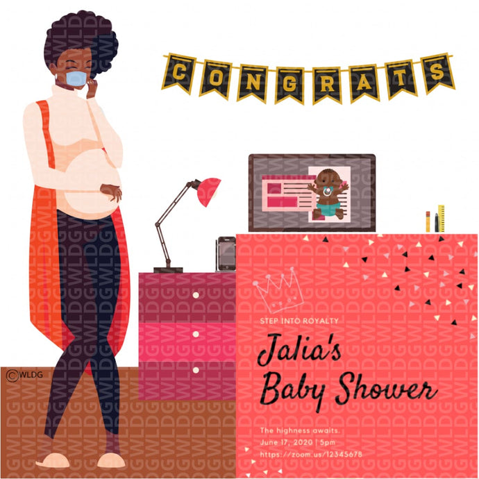 Virtual games and picture of pregnant Black woman or pregnant African American woman hosting a virtual baby shower or online baby shower. To host the virtual baby shower or online baby shower, she has virtual baby shower invitations and virtual baby shower games and online baby shower games that can be games to play on zoom.