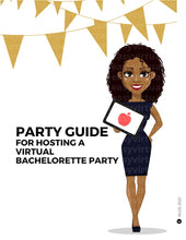 Load image into Gallery viewer, Bachelorette party games. Virtual bachelorette party games and online bachelorette party games. A picture of Black woman or African American woman hosting a virtual bachelorette party. To host the virtual bachelorette party, she has virtual bachelorette party invitations, virtual bachelorette party games, online bachelorette party games that can be played on Zoom or Google meet.