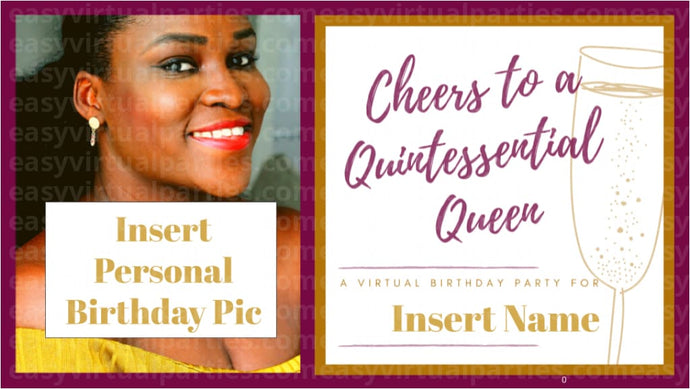 Virtual birthday party games. Online birthday games. Zoom party ideas for adults. Unique birthday party ideas for adults. Surprise birthday ideas for her. How to make someone's birthday special online. Birthday celebration ideas for adults. A picture of Black woman or African American woman hosting a virtual birthday party. To host the virtual birthday party, she has virtual invitations, virtual games, online games that can be played on Zoom or Google Meet.
