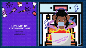 Virtual games and picture of Black woman or African American woman hosting a virtual happy hour. To host virtual happy hour, she has virtual happy hour invitations and virtual happy hour games and online happy hour games that can be games to play on zoom.