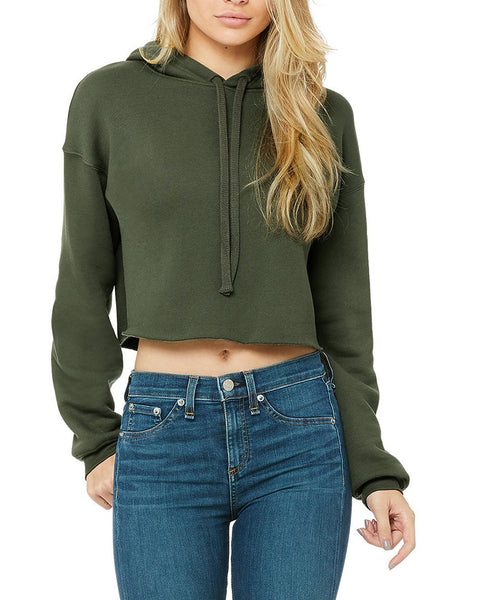 Women's Cropped Fleece Hoodie With Be Enough Modern Font