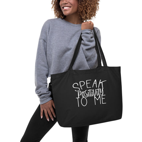 Large Organic Tote Bag With White Bold Positivity Font