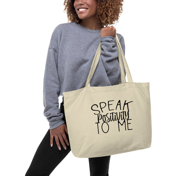 Large Organic Tote Bag With Black Bold Positivity Font