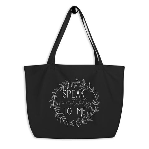 Large Organic Tote Bag With White Leaf Positivity Design