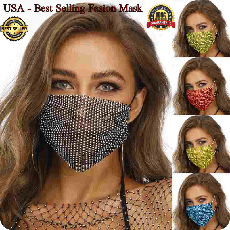 Sparkly Rhinestone Mesh Mask See through Crystal Jewelry Party Mask