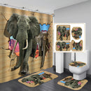 Elephant Shower Curtain Polyester Fabric 4 Piece Bathroom Set Carpet Cover Toilet Cover Bath Mat Pad Colorful For Home Decor - Baths Planet