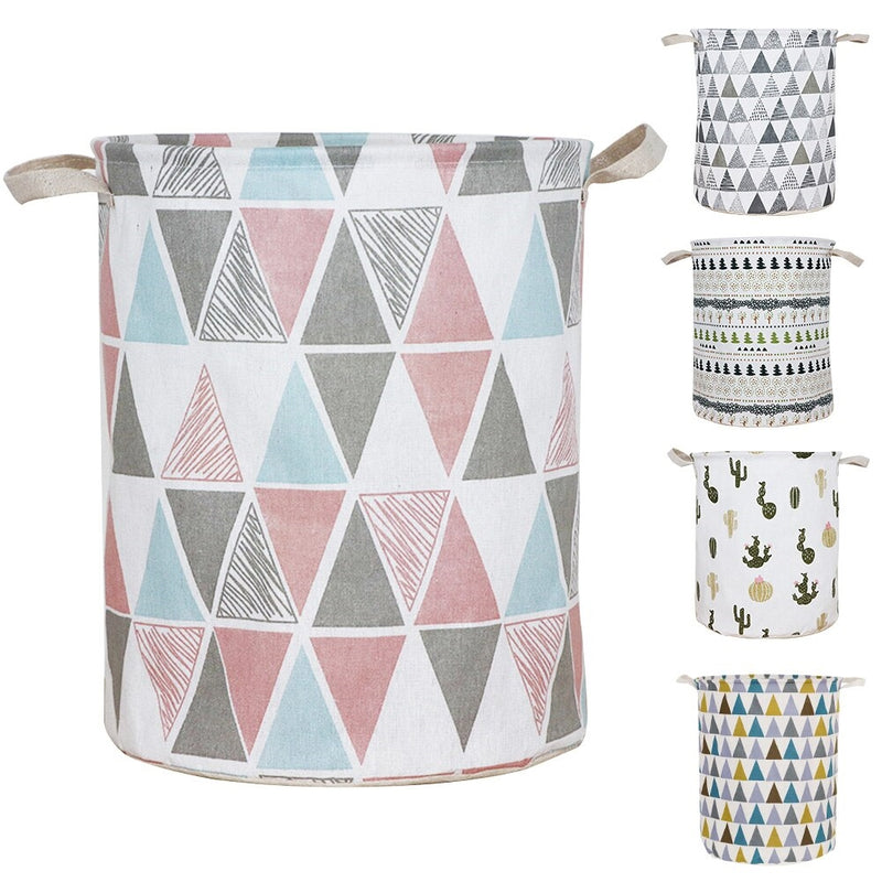 With Handle Sundries Holder Cotton And Linen Laundry Basket For Bedroom Toy Container Bathroom Waterproof Fordable Organizer