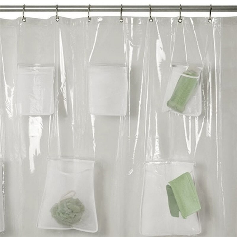 Waterproof Non Toxic Mildew-proof Bathroom Shower Curtain High Quality Translucent Shower Curtain Liner With Pockets