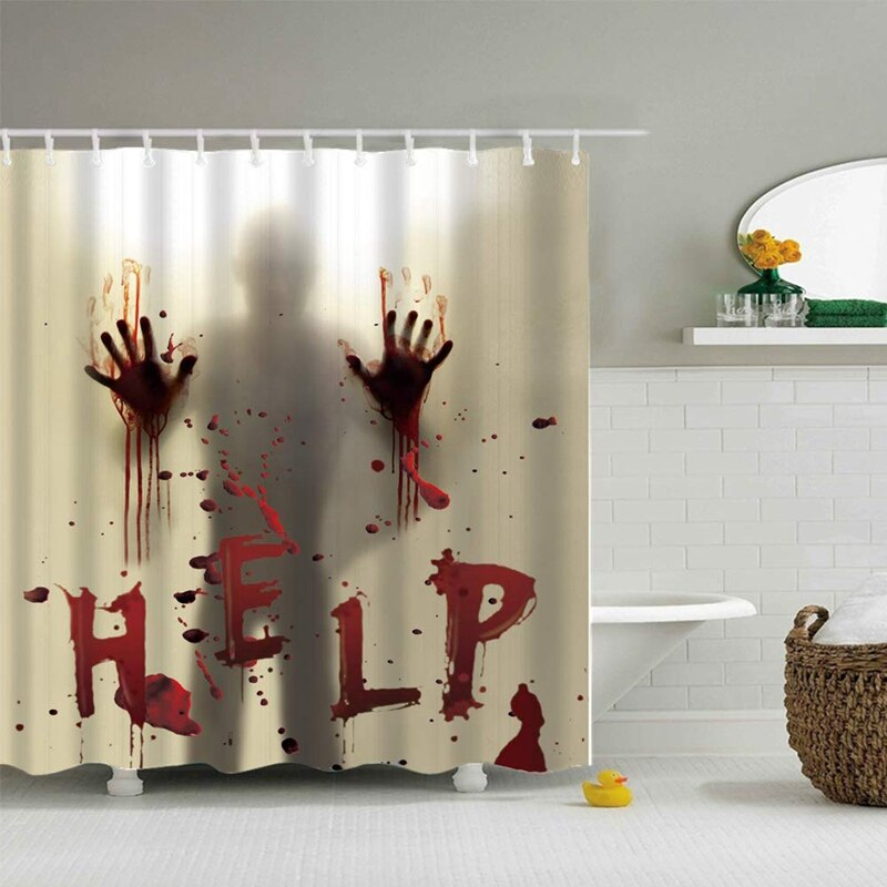 Halloween Shower Curtain Liner Window Curtains Horror Bloody Hands Bathroom Shower Curtains for Halloween Decoration - Baths Planet