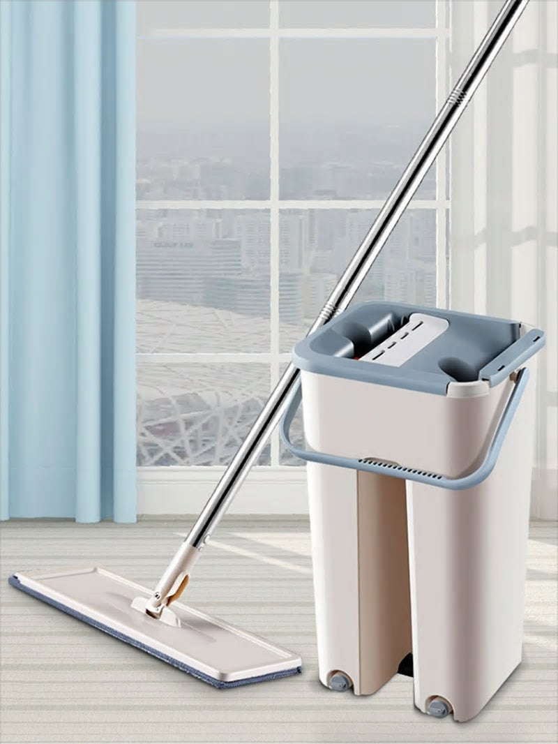Hard Floor Flat Mop Microfiber Magic Mops Bucket Cleaner Cleaning Dirty Hair Fur Free Hand Washing And Drying Rotating Balai - Baths Planet