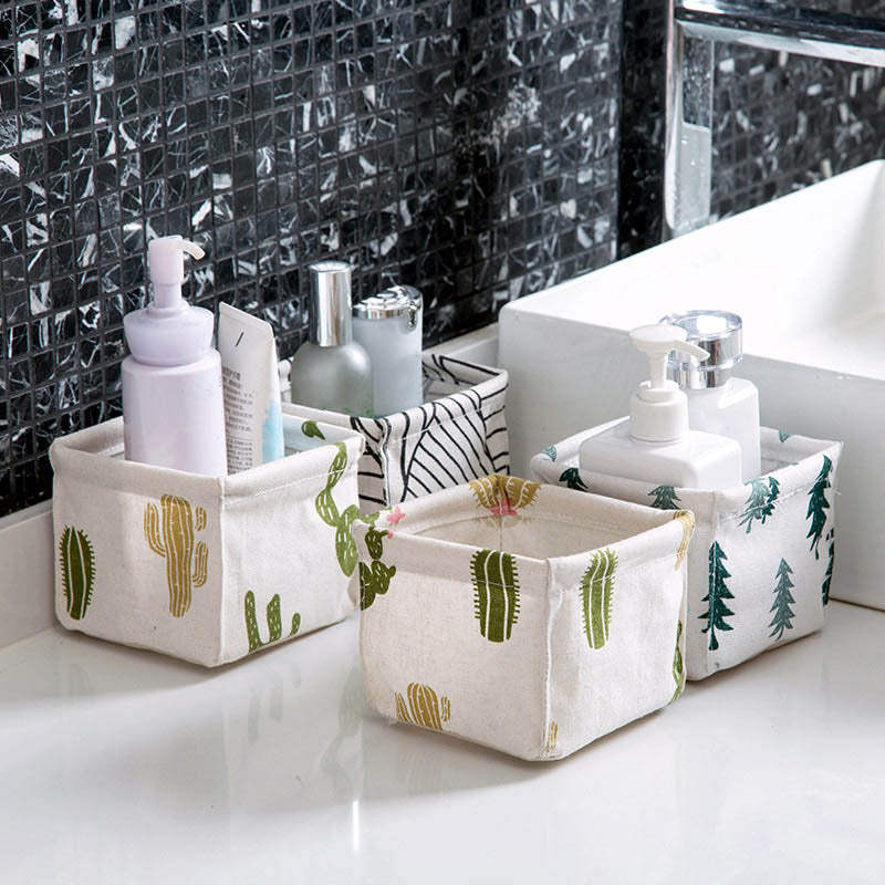 Foldable Sundries Storage basket Cute Printing Cosmetics Container Multi function Cotton Linen Storage Basket Desktop organizer - Baths Planet