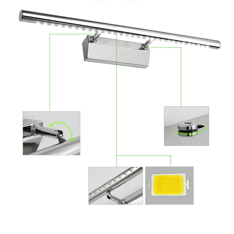3W/5W/7W LED Wall light Bathroom Mirror warm white /white washroon wall Lamp fixtures Aluminum & Stainless Steel with switch - Baths Planet