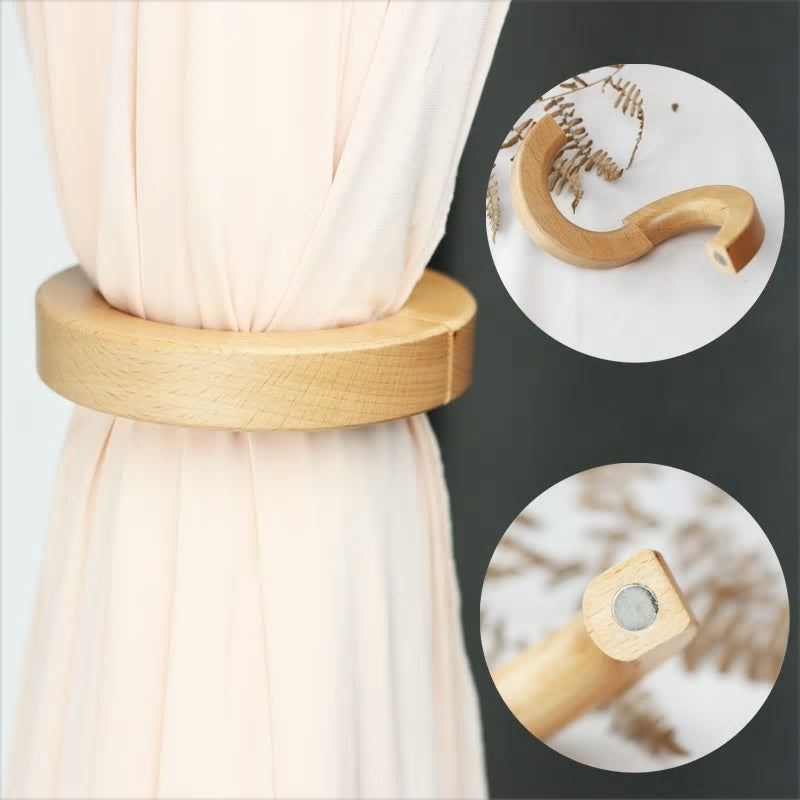 1Pc Rod Curtain Magnetic Wood Round Ring Curtain Tieback Buckle DIY Binding Drapery Holdbacks Room Accessories Clother Cilp - Baths Planet