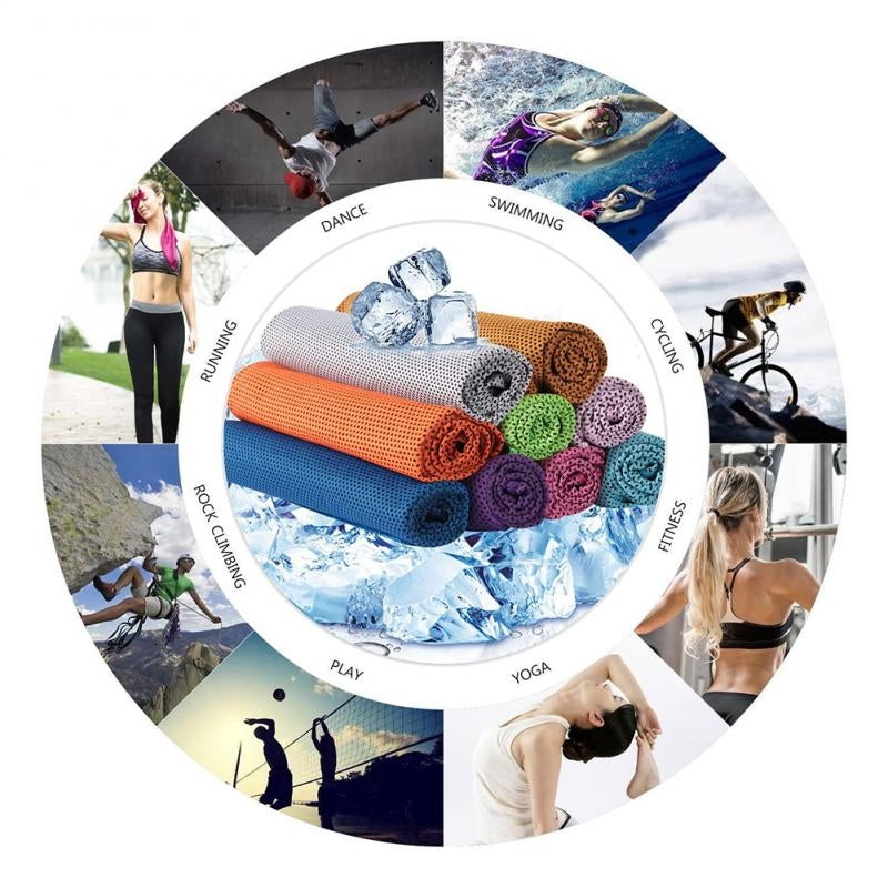 Sports ice silk towel Outdoor Fitness Climbing Yoga Exercise Rapid Cooling Sports Towel Microfiber Fabric Quick-Dry Ice Towels - Baths Planet