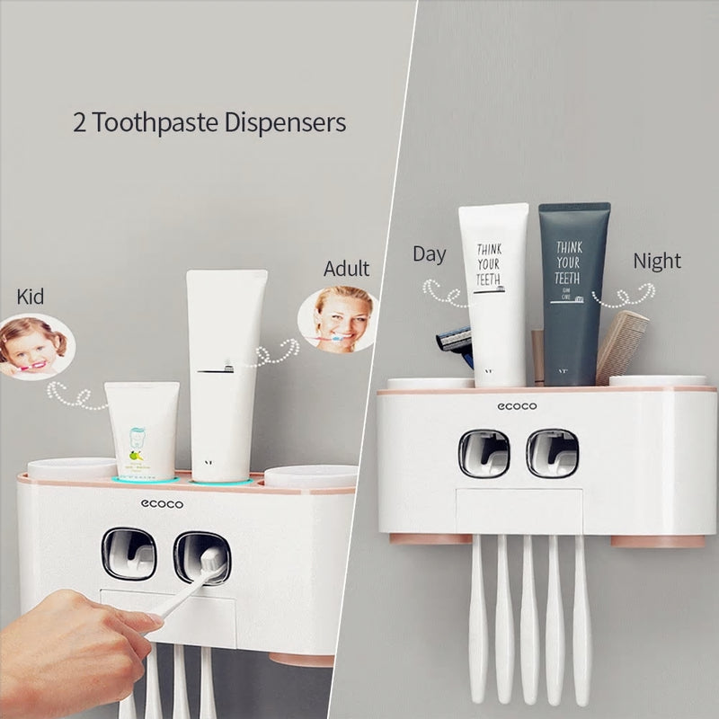 Ecoco Toothbrush Holder Wall-Mounted Bathroom Accessories Set with 2 Toothpaste Dispensers 4 Cups and 5 Toothbrush Slots - Baths Planet